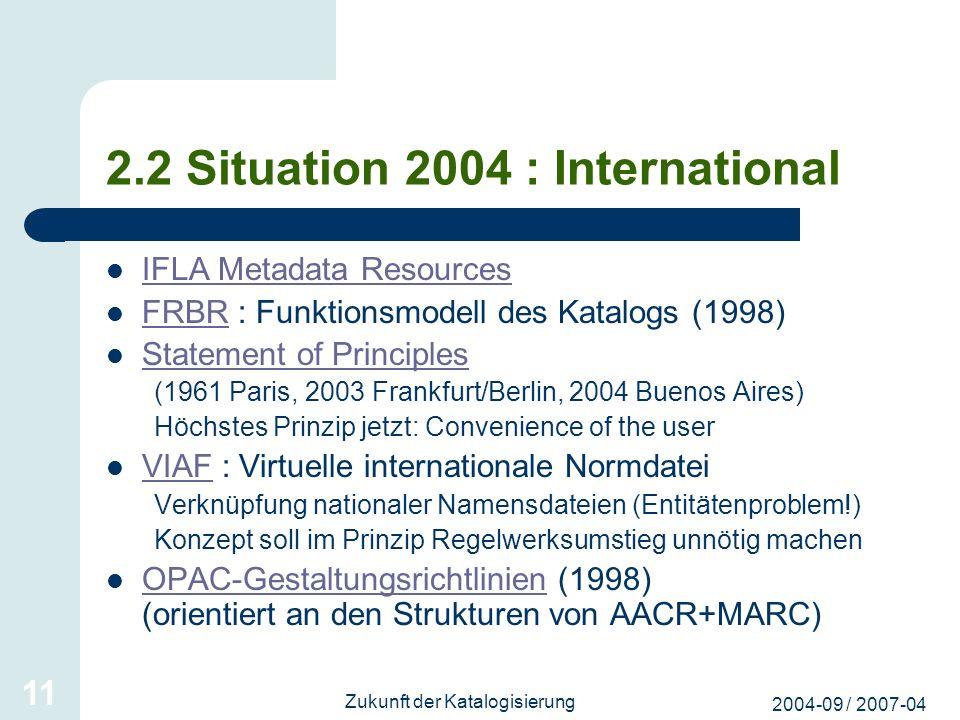 2004-09 / 2007-04 Zukunft der Katalogisierung 11 2.2 Situation 2004 : International IFLA Metadata Resources FRBR : Funktionsmodell des Katalogs (1998)
