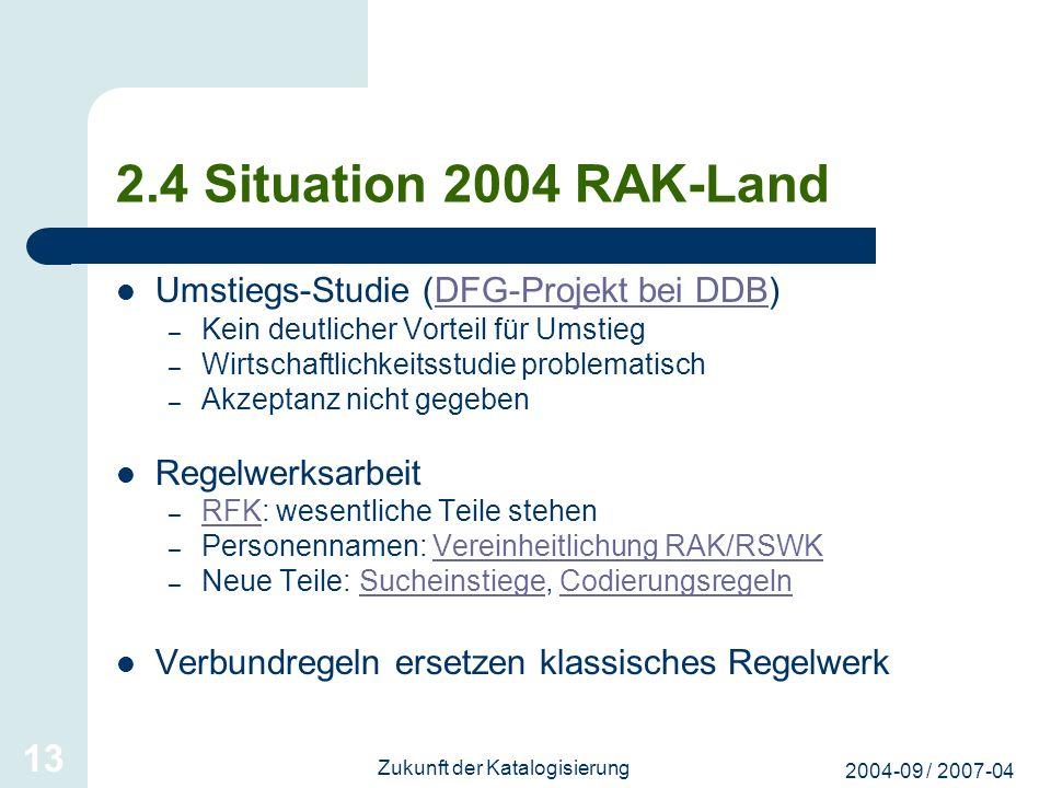 2004-09 / 2007-04 Zukunft der Katalogisierung 13 2.4 Situation 2004 RAK-Land Umstiegs-Studie (DFG-Projekt bei DDB)DFG-Projekt bei DDB – Kein deutliche
