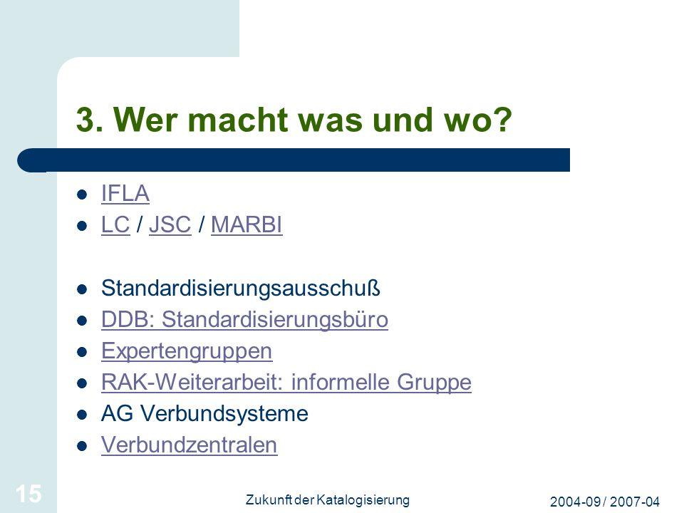 2004-09 / 2007-04 Zukunft der Katalogisierung 15 3. Wer macht was und wo? IFLA LC / JSC / MARBI LCJSCMARBI Standardisierungsausschuß DDB: Standardisie