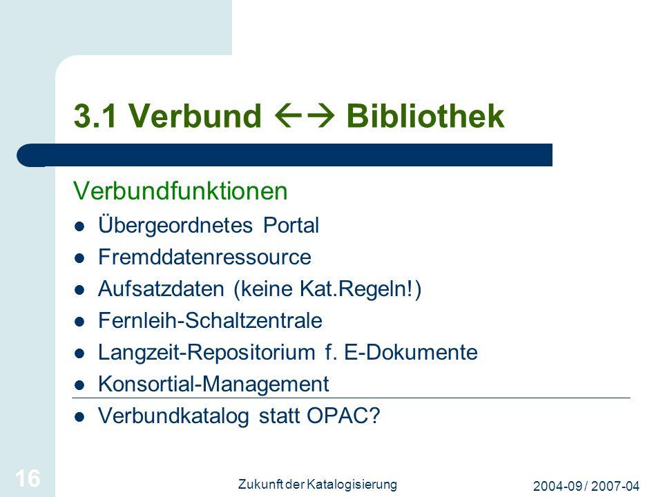 2004-09 / 2007-04 Zukunft der Katalogisierung 16 3.1 Verbund Bibliothek Verbundfunktionen Übergeordnetes Portal Fremddatenressource Aufsatzdaten (kein