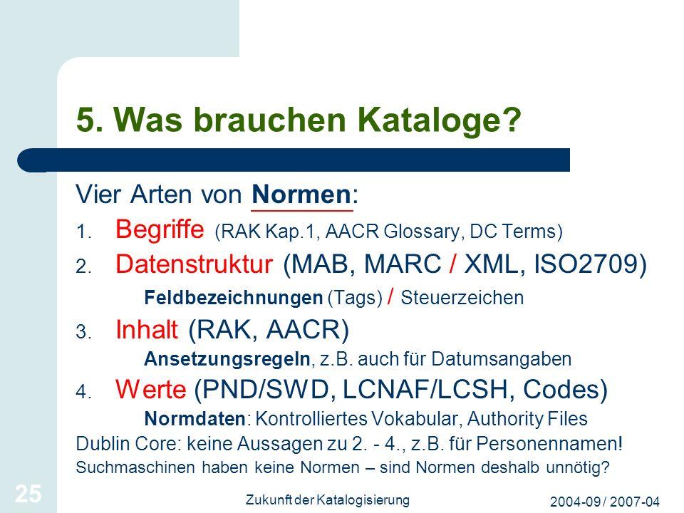 2004-09 / 2007-04 Zukunft der Katalogisierung 25 5. Was brauchen Kataloge? Vier Arten von Normen: 1. Begriffe (RAK Kap.1, AACR Glossary, DC Terms) 2.