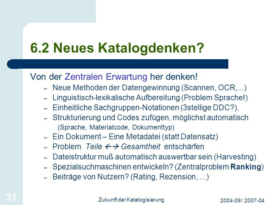 2004-09 / 2007-04 Zukunft der Katalogisierung 31 6.2 Neues Katalogdenken? Von der Zentralen Erwartung her denken! – Neue Methoden der Datengewinnung (