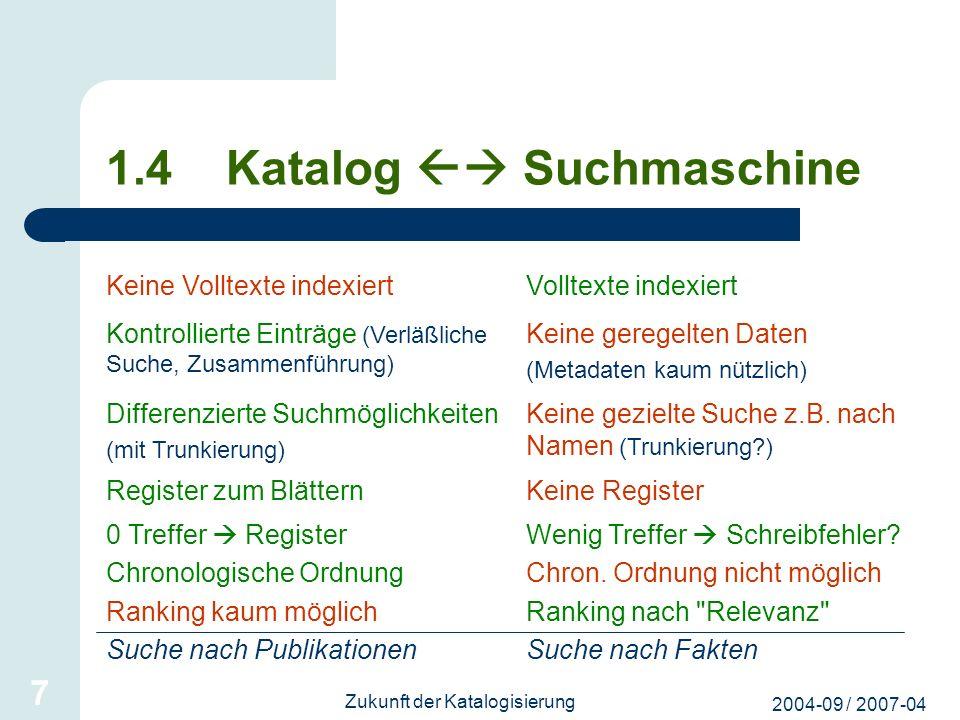 2004-09 / 2007-04 Zukunft der Katalogisierung 7 1.4 Katalog Suchmaschine Keine Volltexte indexiertVolltexte indexiert Kontrollierte Einträge (Verläßli