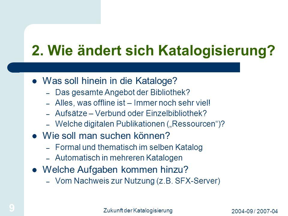 2004-09 / 2007-04 Zukunft der Katalogisierung 9 2. Wie ändert sich Katalogisierung? Was soll hinein in die Kataloge? – Das gesamte Angebot der Bibliot