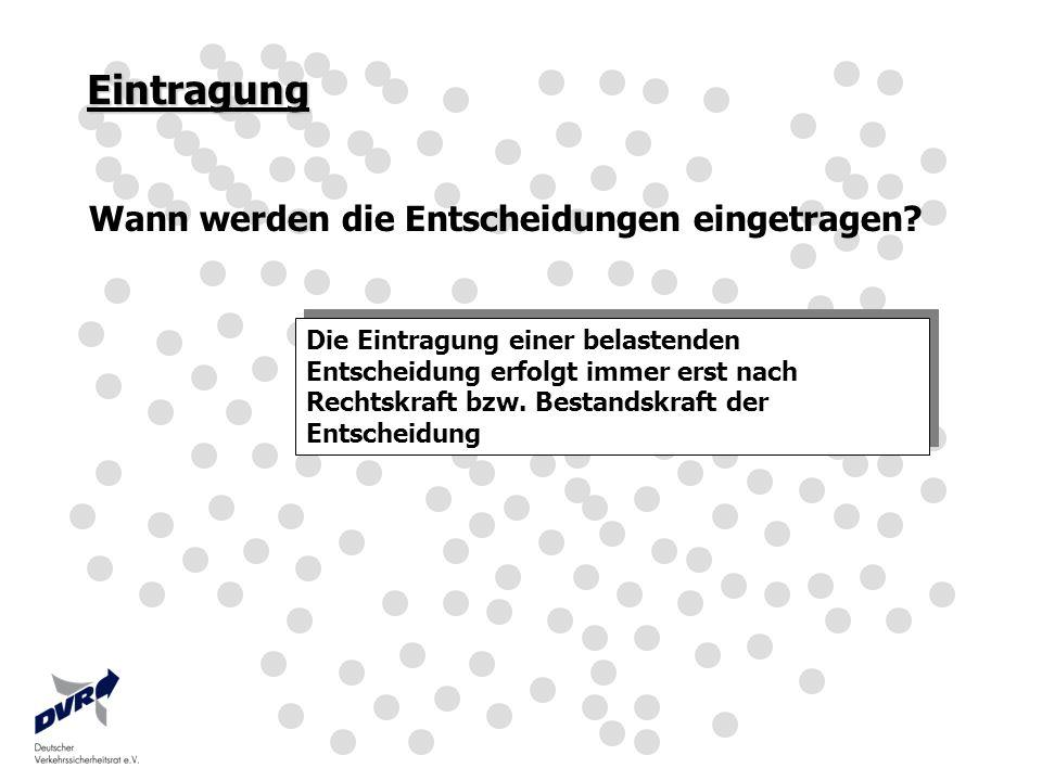 Hinweis 2 Unter Null geht nicht ( §4 (4) StVG ) Ein Punktabzug ist nur bis zum Erreichen von null Punkten zulässig.