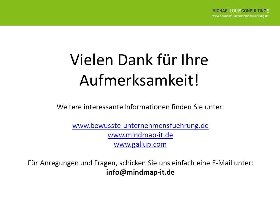 Vielen Dank für Ihre Aufmerksamkeit! Weitere interessante Informationen finden Sie unter: www.bewusste-unternehmensfuehrung.de www.mindmap-it.de www.g