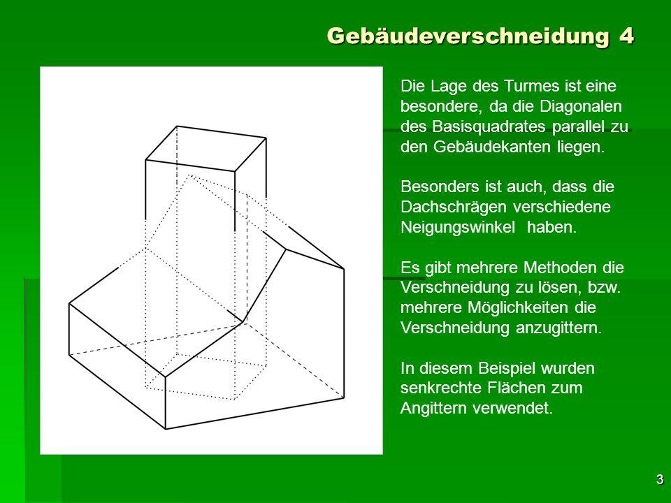 4 Gebäudeverschneidung 4 Die erste senkrechte Fläche wird durch die linke Turmkante, ……..