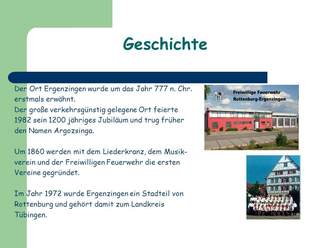 Geschichte Der Ort Ergenzingen wurde um das Jahr 777 n.