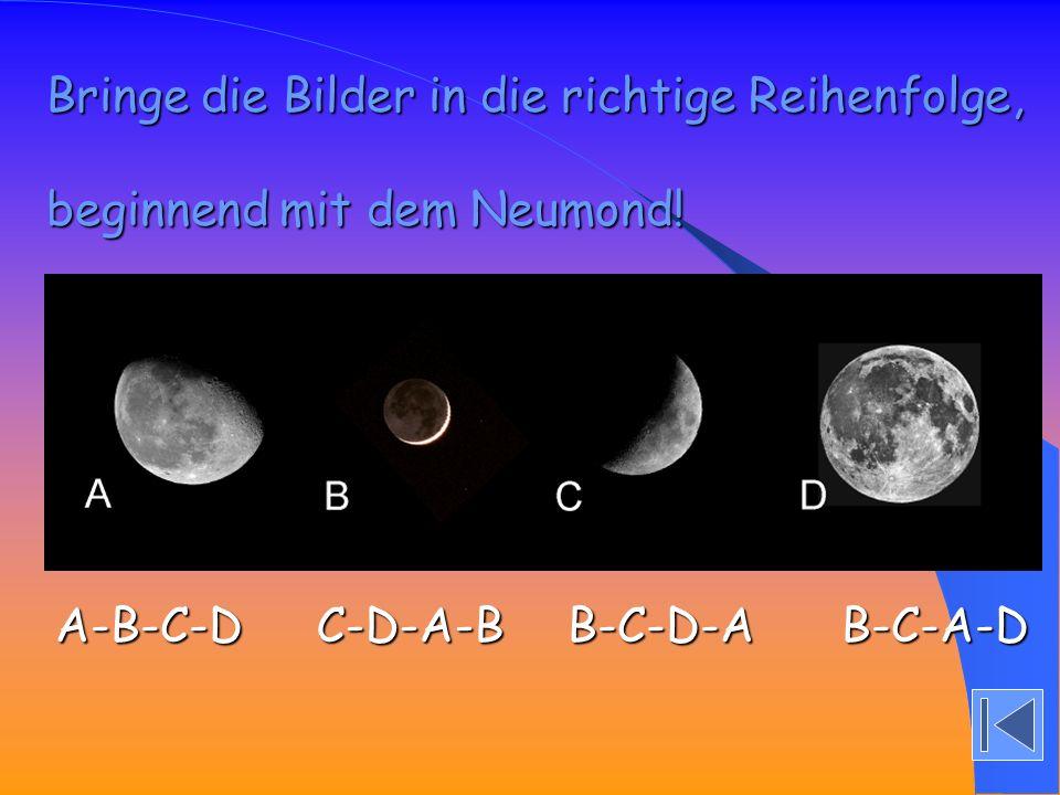 A-B-C-D C-D-A-B B-C-D-A B-C-A-D Bringe die Bilder in die richtige Reihenfolge, beginnend mit dem Neumond!