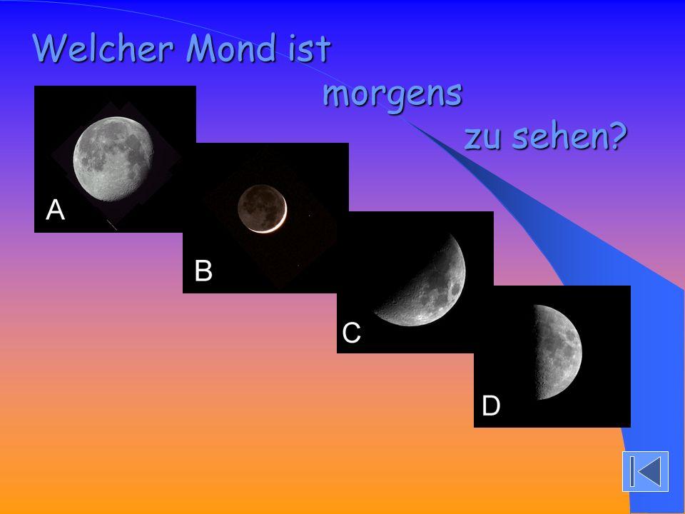 D) Winter D) Winter Der Mond steht tief über dem Horizont.