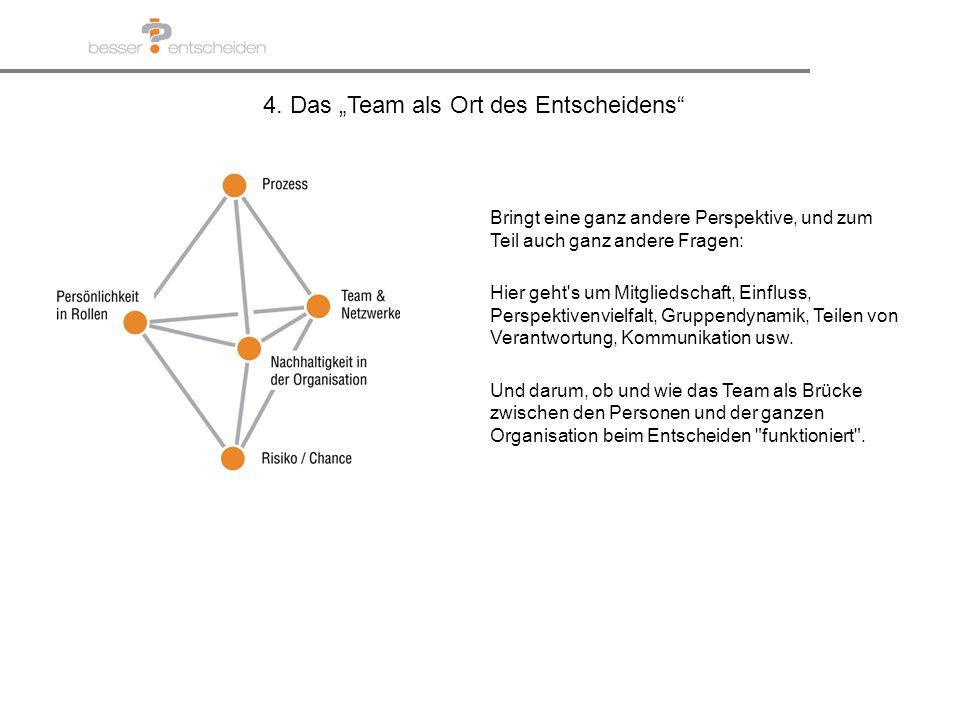 4. Das Team als Ort des Entscheidens Bringt eine ganz andere Perspektive, und zum Teil auch ganz andere Fragen: Hier geht's um Mitgliedschaft, Einflus