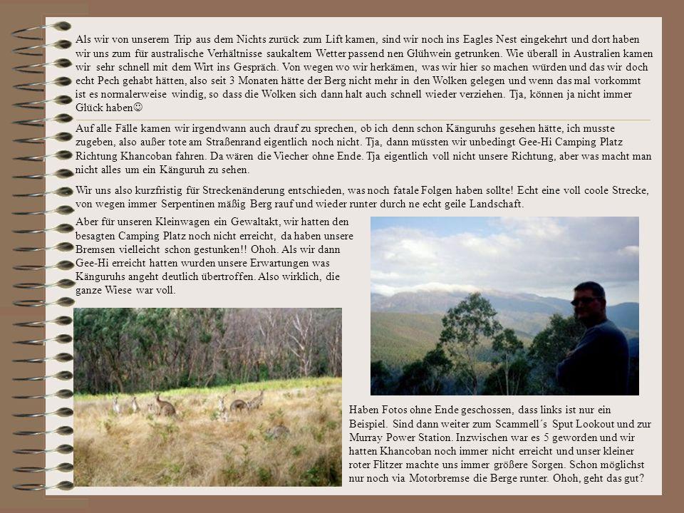 Als wir von unserem Trip aus dem Nichts zurück zum Lift kamen, sind wir noch ins Eagles Nest eingekehrt und dort haben wir uns zum für australische Verhältnisse saukaltem Wetter passend nen Glühwein getrunken.