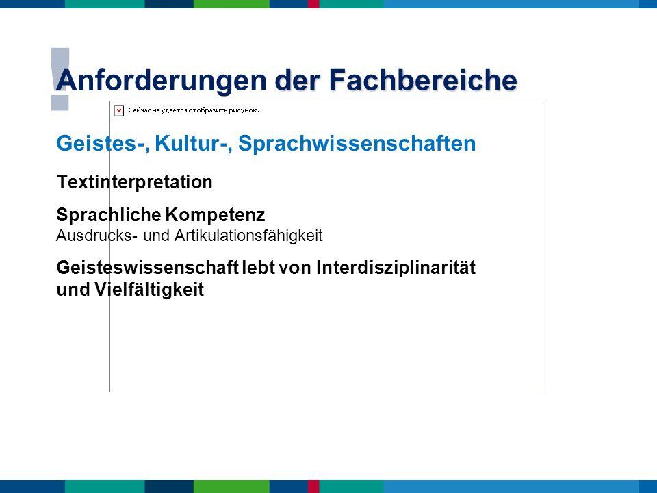 ! der Fachbereiche Anforderungen der Fachbereiche Geistes-, Kultur-, Sprachwissenschaften Textinterpretation Sprachliche Kompetenz Ausdrucks- und Arti