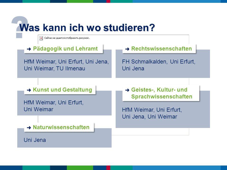 ? Was ich wo studieren? Was kann ich wo studieren? HfM Weimar, Uni Erfurt, Uni Jena, Uni Weimar, TU Ilmenau Pädagogik und Lehramt HfM Weimar, Uni Erfu