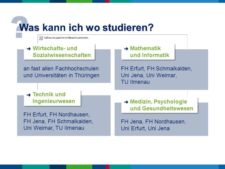 ? Was ich wo studieren? Was kann ich wo studieren? FH Erfurt, FH Schmalkalden, Uni Jena, Uni Weimar, TU Ilmenau FH Erfurt, FH Nordhausen, FH Jena, FH