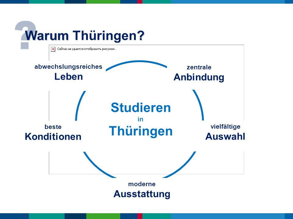 ? Warum ? Warum Thüringen? vielfältige Auswahl abwechslungsreiches Leben Studieren in Thüringen zentrale Anbindung moderne Ausstattung beste Kondition