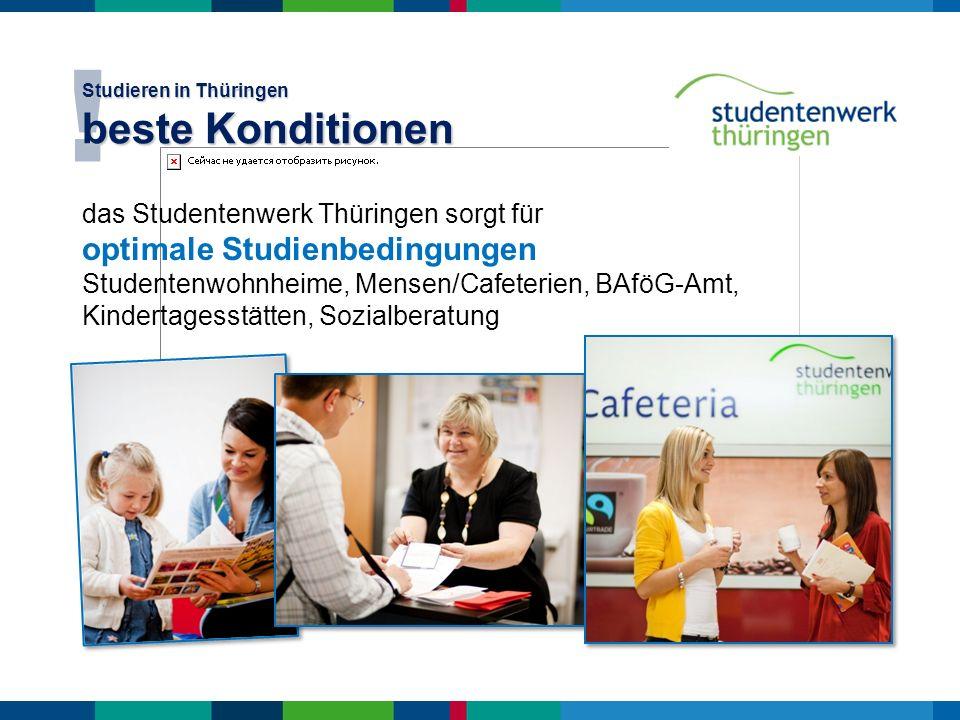 das Studentenwerk Thüringen sorgt für optimale Studienbedingungen Studentenwohnheime, Mensen/Cafeterien, BAföG-Amt, Kindertagesstätten, Sozialberatung