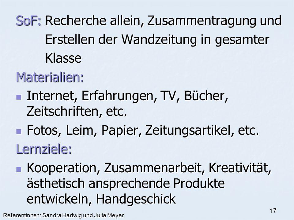 Referentinnen: Sandra Hartwig und Julia Meyer 17 SoF:Recherche allein, Zusammentragung und Erstellen der Wandzeitung in gesamter KlasseMaterialien: In