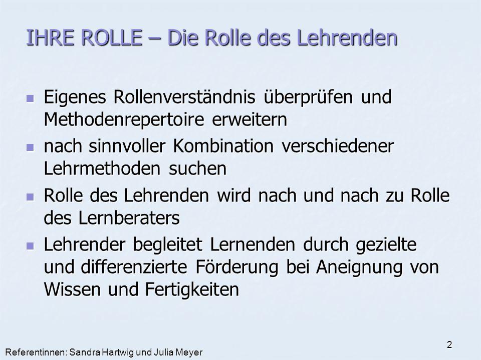 Referentinnen: Sandra Hartwig und Julia Meyer 2 IHRE ROLLE – Die Rolle des Lehrenden Eigenes Rollenverständnis überprüfen und Methodenrepertoire erwei