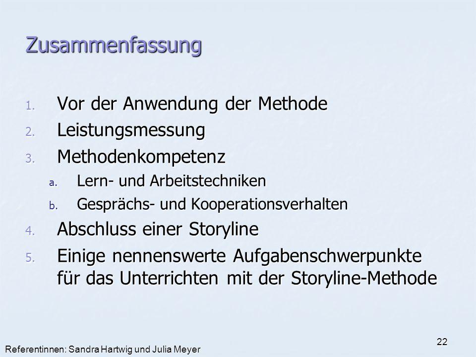 Referentinnen: Sandra Hartwig und Julia Meyer 22 Zusammenfassung 1. Vor der Anwendung der Methode 2. Leistungsmessung 3. Methodenkompetenz a. Lern- un