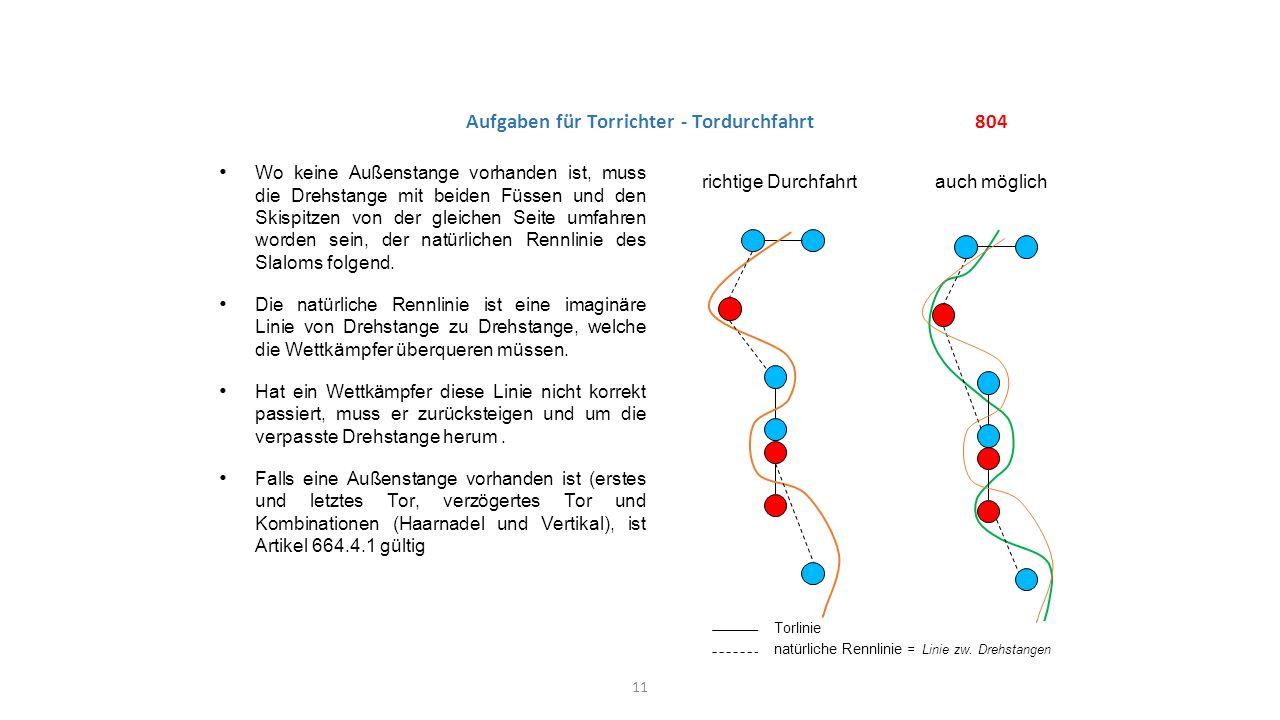 804 Aufgaben für Torrichter - Tordurchfahrt Wo keine Außenstange vorhanden ist, muss die Drehstange mit beiden Füssen und den Skispitzen von der gleic