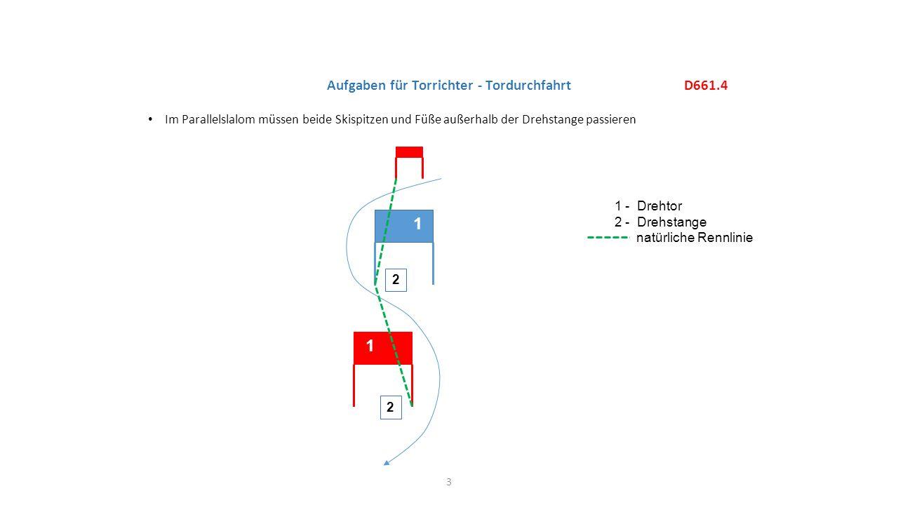Im Parallelslalom müssen beide Skispitzen und Füße außerhalb der Drehstange passieren D661.4 Aufgaben für Torrichter - Tordurchfahrt 1 - Drehtor 2 - D