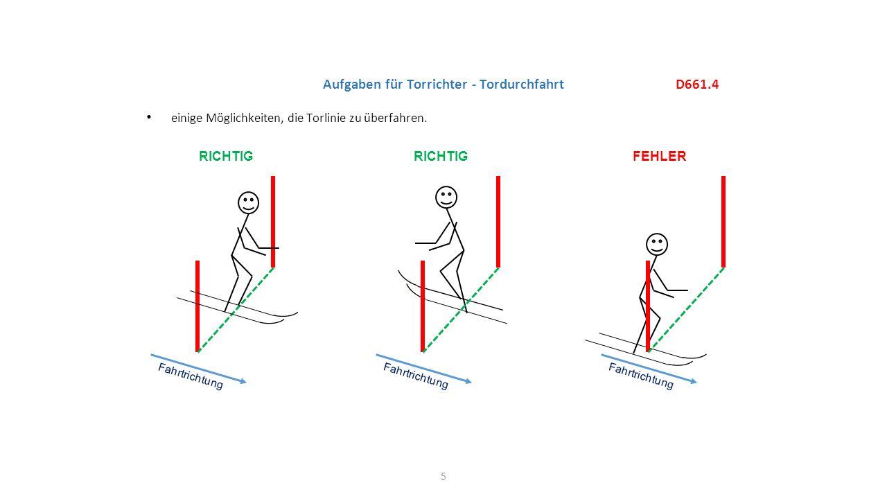 einige Möglichkeiten, die Torlinie zu überfahren. 5 D661.4 Aufgaben für Torrichter - Tordurchfahrt RICHTIG FEHLER Fahrtrichtung