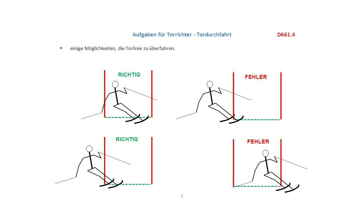 einige Möglichkeiten, die Torlinie zu überfahren. 6 D661.4 Aufgaben für Torrichter - Tordurchfahrt RICHTIG FEHLER RICHTIG