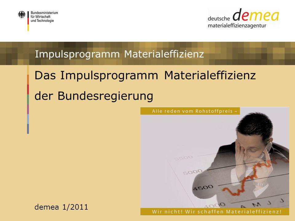 Impulsprogramm Materialeffizienz Das Impulsprogramm Materialeffizienz der Bundesregierung demea 1/2011 Impulsprogramm Materialeffizienz