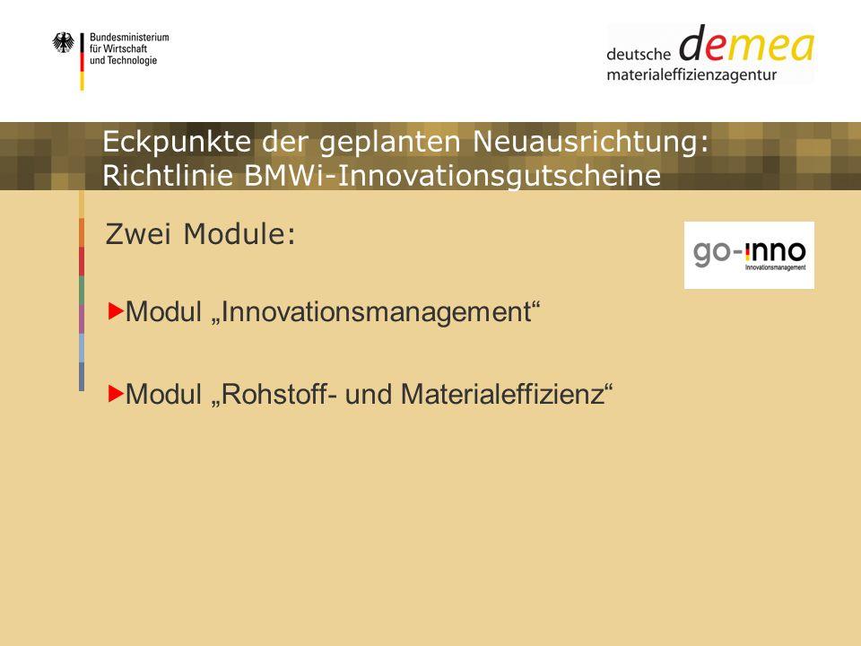 Impulsprogramm Materialeffizienz Eckpunkte der geplanten Neuausrichtung: Richtlinie BMWi-Innovationsgutscheine Zwei Module: Modul Innovationsmanagemen