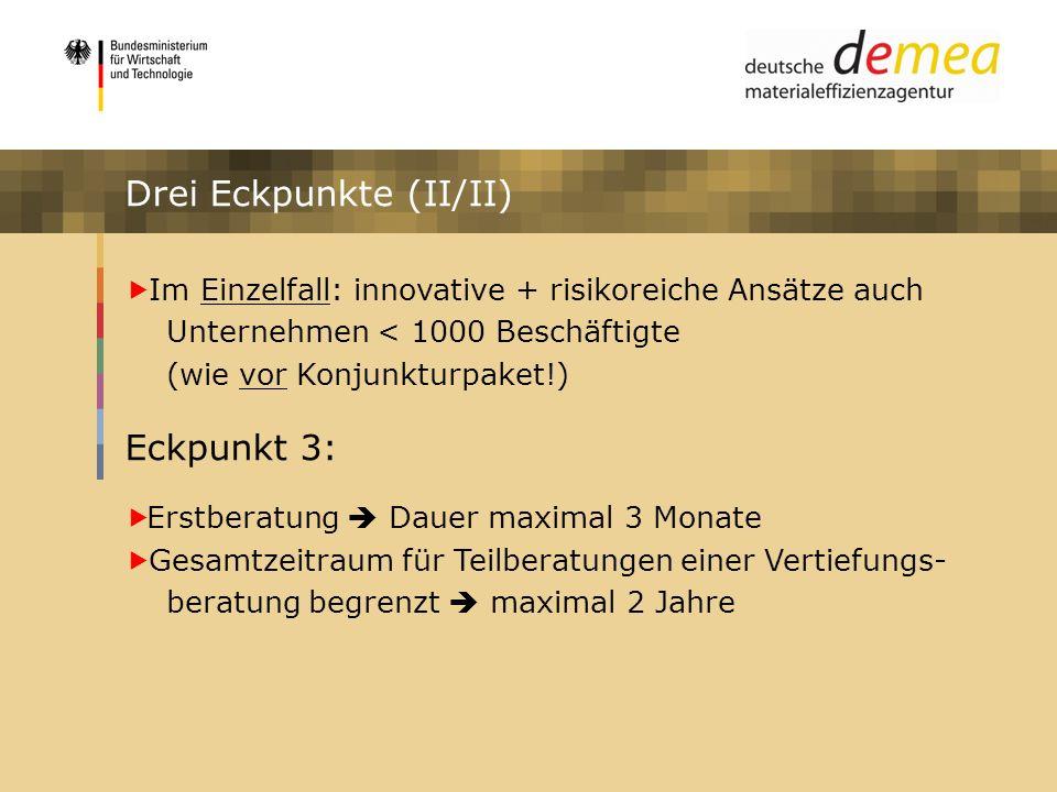 Impulsprogramm Materialeffizienz Drei Eckpunkte (II/II) Im Einzelfall: innovative + risikoreiche Ansätze auch Unternehmen < 1000 Beschäftigte (wie vor