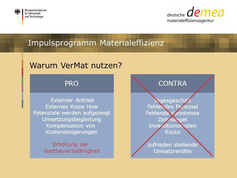 Impulsprogramm Materialeffizienz Warum VerMat nutzen? Externer Antrieb Externes Know How Potenziale werden aufgezeigt Umsetzungsbegleitung Kompensatio