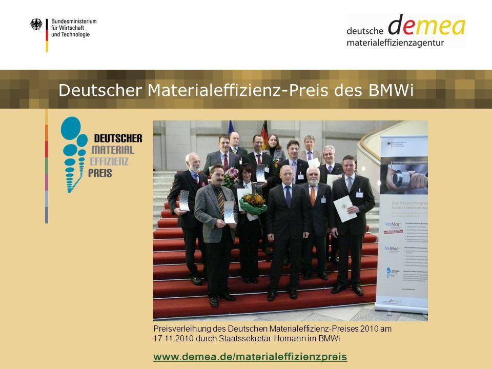Impulsprogramm Materialeffizienz Deutscher Materialeffizienz-Preis des BMWi Preisverleihung des Deutschen Materialeffizienz-Preises 2010 am 17.11.2010