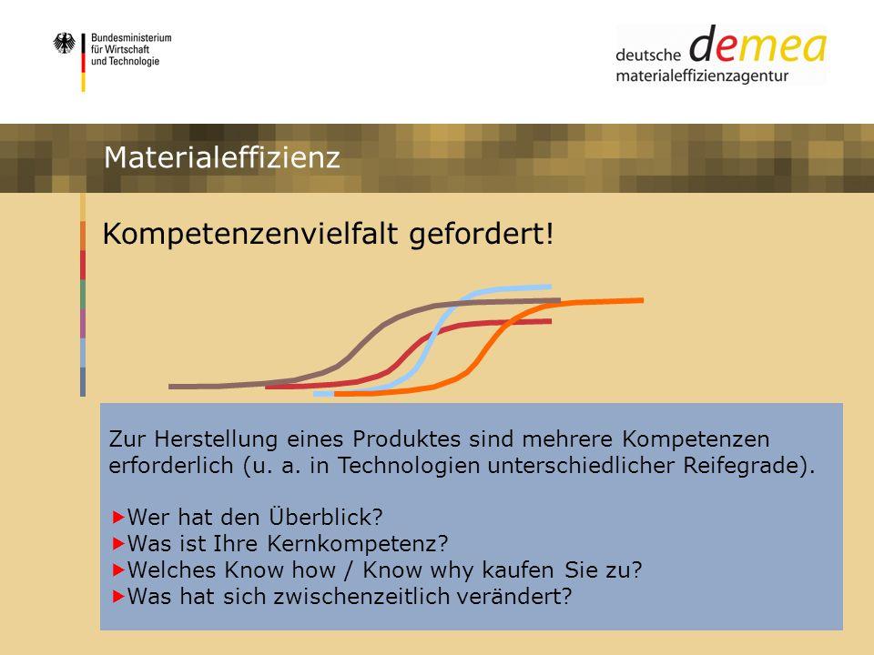 Impulsprogramm Materialeffizienz Kompetenzenvielfalt gefordert! Zur Herstellung eines Produktes sind mehrere Kompetenzen erforderlich (u. a. in Techno