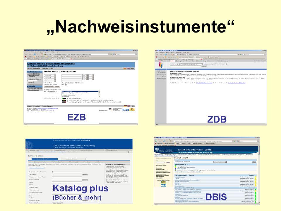 Nachweisinstumente EZB ZDB Katalog plus (Bücher & mehr) DBIS