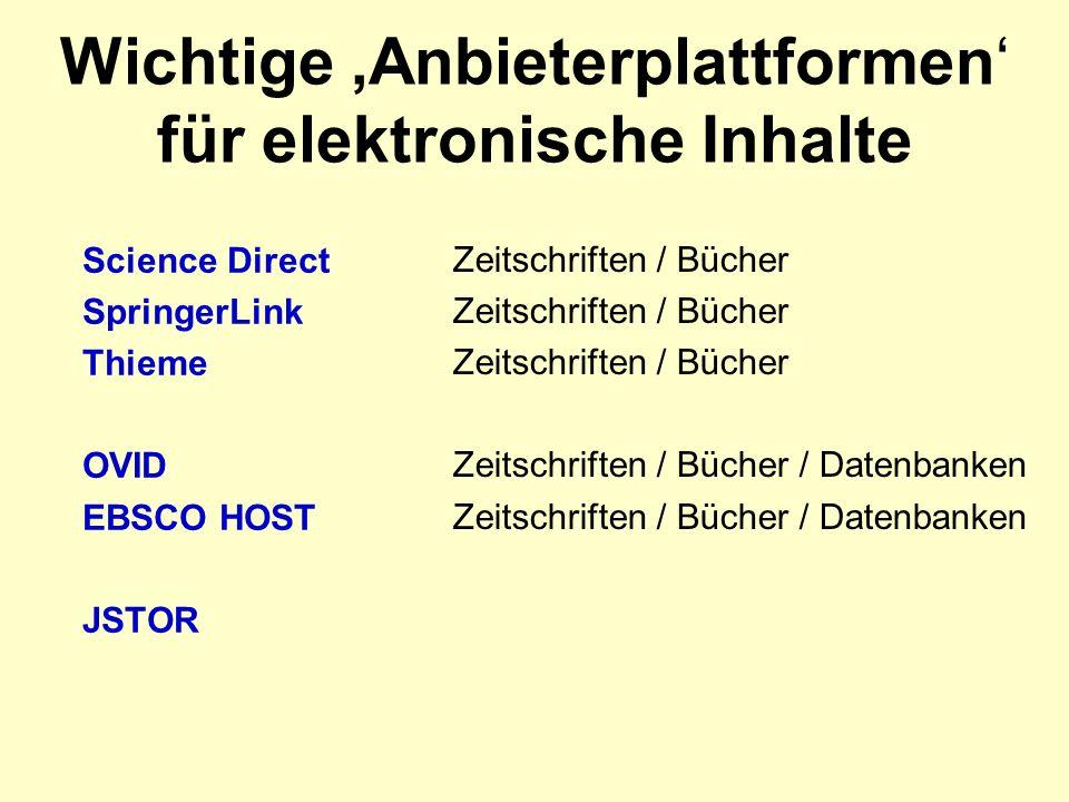 Wichtige Anbieterplattformen für elektronische Inhalte Science Direct SpringerLink Thieme OVID EBSCO HOST JSTOR Zeitschriften / Bücher Zeitschriften / Bücher / Datenbanken
