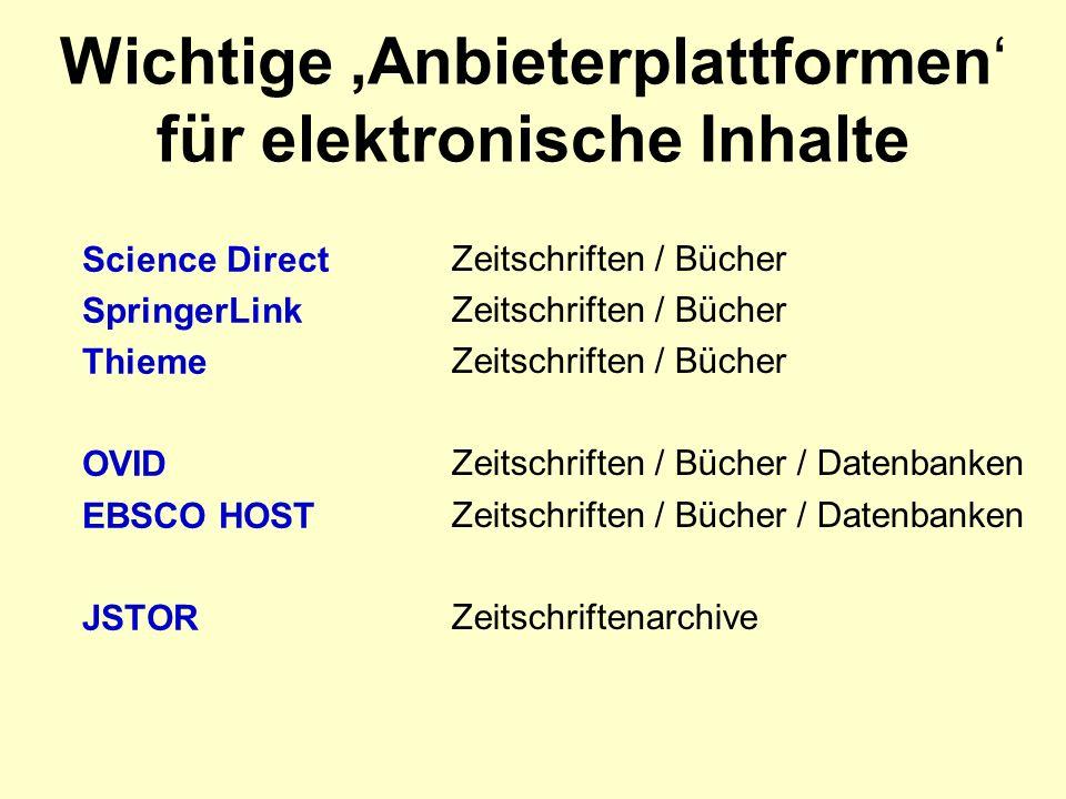 Wichtige Anbieterplattformen für elektronische Inhalte Science Direct SpringerLink Thieme OVID EBSCO HOST JSTOR Zeitschriften / Bücher Zeitschriften / Bücher / Datenbanken Zeitschriftenarchive