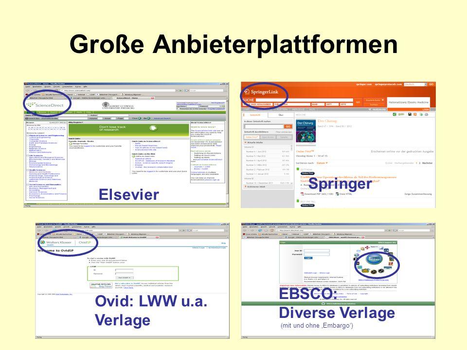 Große Anbieterplattformen Elsevier Springer Ovid: LWW u.a.