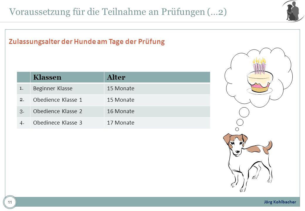 Jörg Kohlbacher Voraussetzung für die Teilnahme an Prüfungen (…2) Zulassungsalter der Hunde am Tage der Prüfung KlassenAlter 1. Beginner Klasse15 Mona