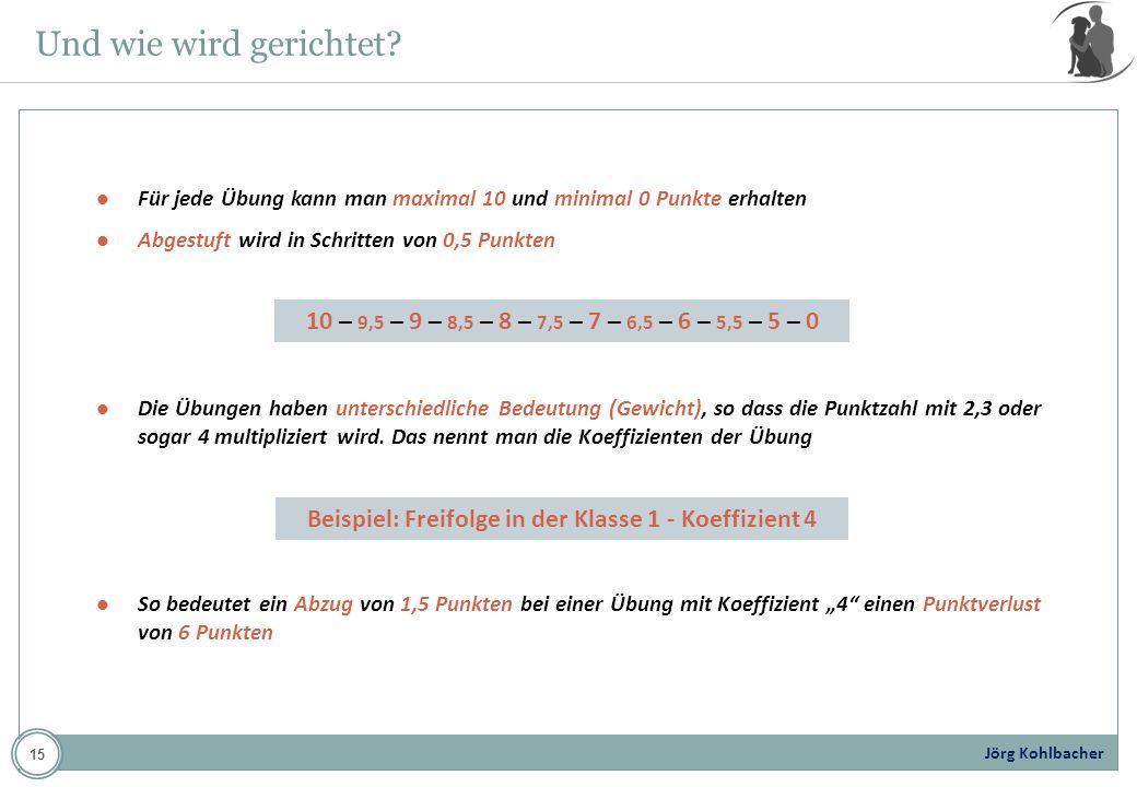 Jörg Kohlbacher Und wie wird gerichtet? Für jede Übung kann man maximal 10 und minimal 0 Punkte erhalten Abgestuft wird in Schritten von 0,5 Punkten D