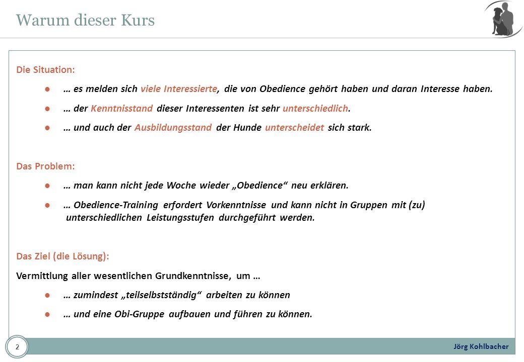 Jörg Kohlbacher Themenübersicht (1) Geschichte und Anforderungen dieses Sports (2) Rund um die Prüfungsordnung (3) Theorie: Die Beginner-Klasse/Klasse 1 (4) Abschlussprüfung (5) Praktische Vorführungen 3