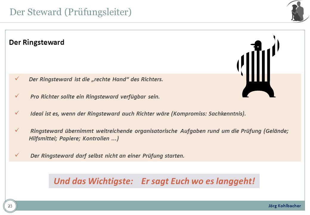 Jörg Kohlbacher Der Steward (Prüfungsleiter) Der Ringsteward ist die rechte Hand des Richters. Pro Richter sollte ein Ringsteward verfügbar sein. Idea