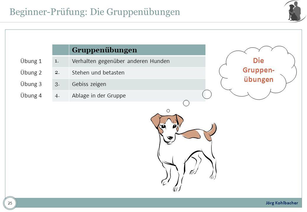 Jörg Kohlbacher Übung 1 Übung 2 Übung 3 Übung 4 Gruppenübungen 1. Verhalten gegenüber anderen Hunden 2. Stehen und betasten 3. Gebiss zeigen 4. Ablage