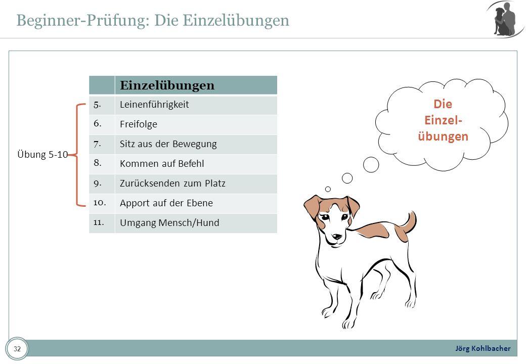 Jörg Kohlbacher Beginner-Prüfung: Die Einzelübungen Die Einzel- übungen Einzelübungen 5. Leinenführigkeit 6. Freifolge 7. Sitz aus der Bewegung 8. Kom