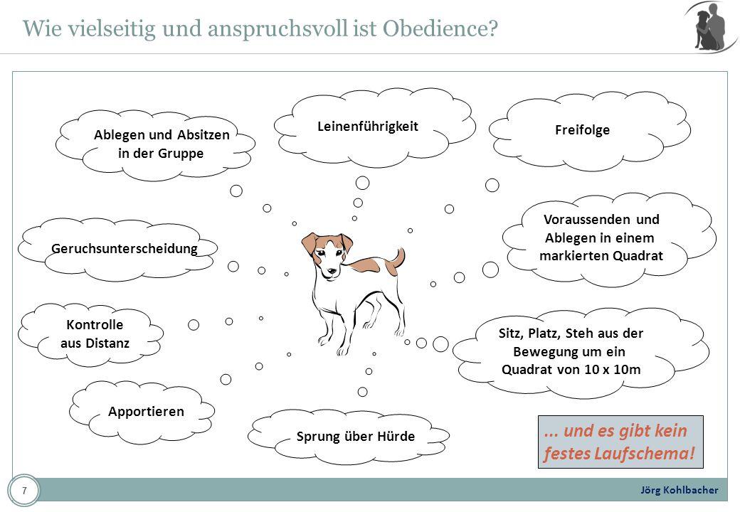 Jörg Kohlbacher Beginner-Prüfung: Zurücksenden zum Platz Übung 9 Kommandos Anzahl Hör- und Sichtzeichen 4, Beispiel: Box, Steh, PlatzSitz AUSFÜHRUNG: Der Hund sitzt nach Übung 8 in Grundstellung.