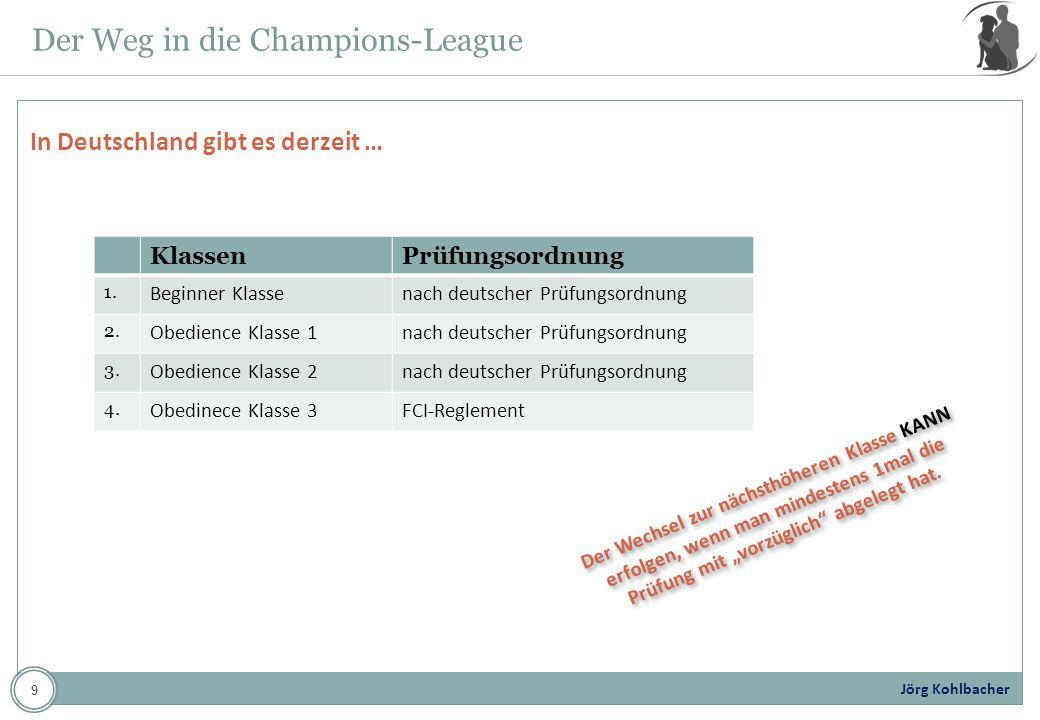 Jörg Kohlbacher Der Weg in die Champions-League In Deutschland gibt es derzeit … KlassenPrüfungsordnung 1. Beginner Klassenach deutscher Prüfungsordnu