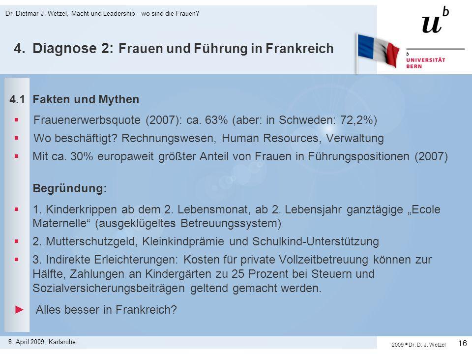 Dr. Dietmar J. Wetzel, Macht und Leadership - wo sind die Frauen? 16 8. April 2009, Karlsruhe 4.Diagnose 2: Frauen und Führung in Frankreich 4.1 Fakte