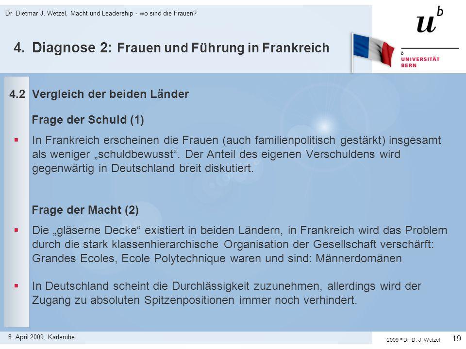 Dr. Dietmar J. Wetzel, Macht und Leadership - wo sind die Frauen? 19 8. April 2009, Karlsruhe 4.2Vergleich der beiden Länder Frage der Schuld (1) In F