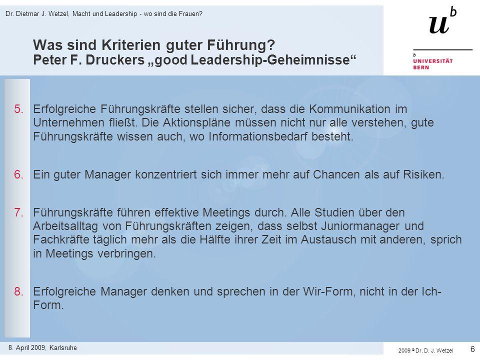 Dr.Dietmar J. Wetzel, Macht und Leadership - wo sind die Frauen.