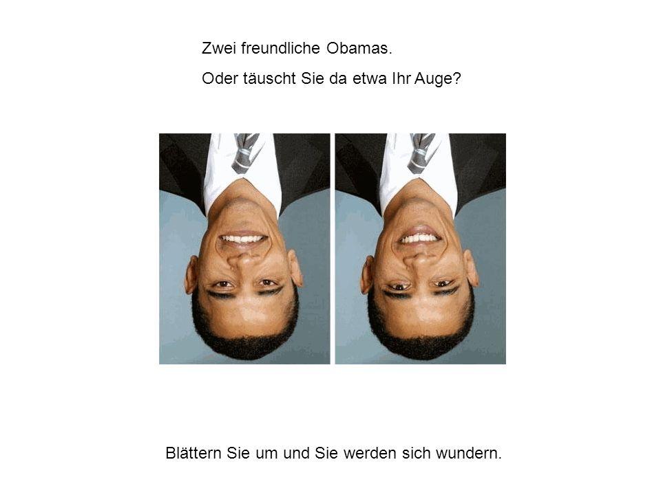 Zwei freundliche Obamas.Oder täuscht Sie da etwa Ihr Auge.